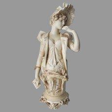 Antique Austrian Teplitz Amphora Bust, Lady with Letter Porcelain
