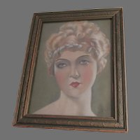 Pretty Antique Oil Painting of a Lovely Lady, Signed Lewis