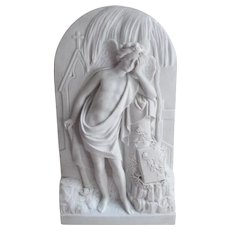 Antique 19thC Parian, Bisque Mourning Plaque, Angel, Weeping Willow