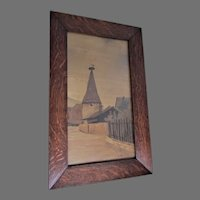 Antique French Arts & Crafts, Nouveau Inlaid Wood Plaque, Oak Frame