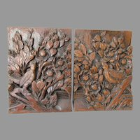 Lovely Hand Carved Asian Bookends with Birds & Flowers