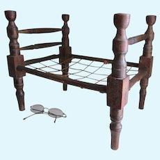 Antique c1860s Miniature Doll Rope Bed, Primitive, Folk Art Furniture