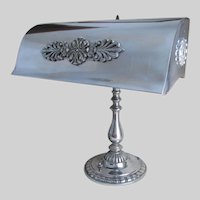 Antique Nickel Plate Desk or Bankers Lamp, Lighting, Home Decor