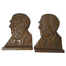 Vintage Thomas Edison Bookends, Cast Bronze, Signed