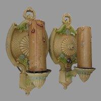 Pretty Pair Art Deco Lamp,  Light Sconces, Original Paint
