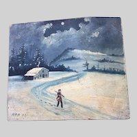 Antique Primitive c1892 Folk Art Oil Painting of a Cottage and Man