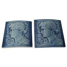 Antique c1885 Curved Architectural Art Pottery Tiles, JG & JF Low