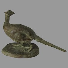 Vintage Sculpture of a Pheasant, Game Bird, Signed