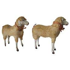 Pair Large Antique Putz German Sheep, Christmas Decorations, Toys