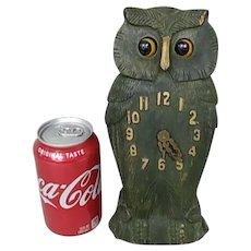 Antique Hand Carved German Great Horned Owl Novelty Wood Clock