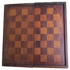 Petite Antique Folding, Traveling Chess, Checker, Backgammon Game Board