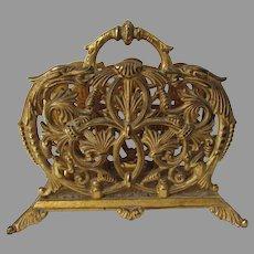 Antique Gilded Victorian Gothic Desk Letter Holder, Gargoyles, Dragons