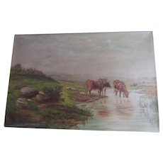 Antique Circa 1886 Oil Painting of Cows, Landscape, Cottage