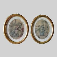 Matched Pair Antique c1860s Gilded Oval Picture Frames, Mirror Frame