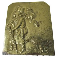 Antique c1910 French Congo Bronze Plaque, French Equatorial Africa