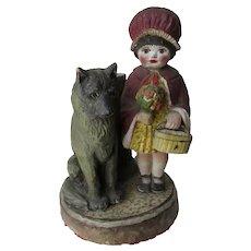 Charming Folk Art Wood Sculpture, Little Girl with her Dog