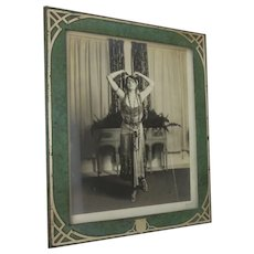 Antique Mixed Metal Picture Frame, Sterling Silver on Bronze