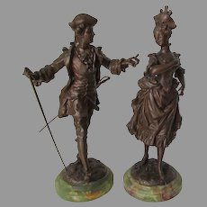 Lovely Antique Sculptures, French Couple, Signed Rancoulet