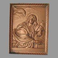 Antique Saint John the Evangelist, Christian, Cast Iron Plaque