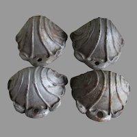 Antique Cast Iron Shell Shaped Handles, Wall Pockets, Garden Decor
