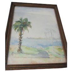 Lovely Antique Impressionistic Watercolor Painting, Signed