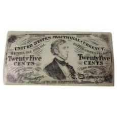 Antique c1863 Match Safe, US Fractional Currency, William Pitt Fessenden