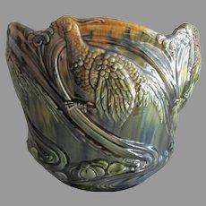 Rare Weller Pheasant Birds Jardiniere, Planter, Antique Art Pottery