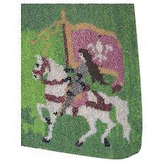 Antique c1918 French Beaded Textile, Joan of Arc with Flag, Fleur de Lis