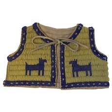 Old Native American Indian Infant's Beaded Leather Vest with Dogs