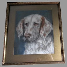 Wonderful Antique Pastel of a Dog, Canine Illustration
