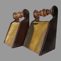 Nice Pair Vintage English Bookends, Doorstops, Brass & Wood