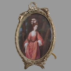 Fine Antique French Miniature Painting of a Beautiful Lady