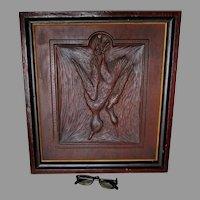 Antique c1880s Hand Carved Game Bird Wood Plaque