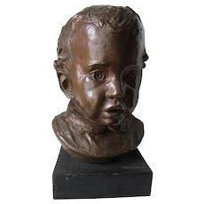 Charming Vintage Bronze Bust Sculpture of Little Boy, Signed Cramer
