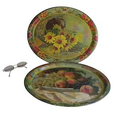 Pair Antique Lithograph Trays with Fruit & Flowers, Advertising Premiums