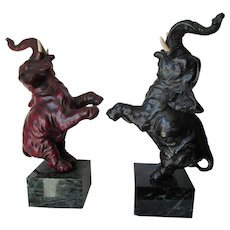 Rare Pair of Armor Bronze Dancing Elephant Bookends