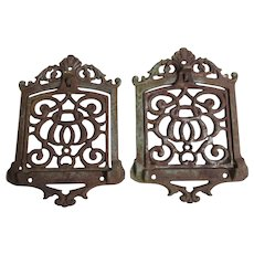 Pair Antique Folding Warming Shelves, Cast Iron Stove Shelf