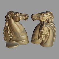 Art Deco Horse Bookends, Stallion, Mare & Foal, Cast Iron Office Accessory