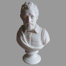 Antique Parian Porcelain Bust of English Writer Benjamin Johnson