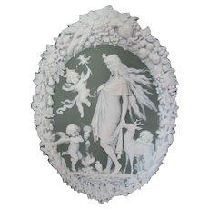 Antique Jasperware Plaque, Mythology Artemis,  Cherub Angels