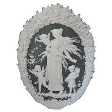 Antique Jasperware Plaque with Mythology Goddess, Cherub Angels