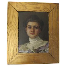 Lovely Antique Oil Painting, Impressionistic Portrait of Lady