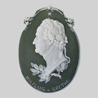 Antique Jasperware Plaque of Music Composer Wolfgang von Goethe