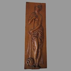 Antique Victorian Hand Carved Carved Oak Panel of a Nude Lady