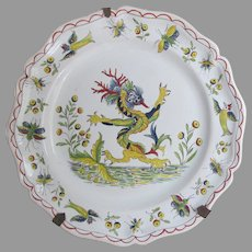 Antique French Desvres Faience Dragon Plate, Hand Painted