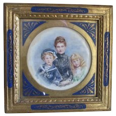 Antique Miniature Watercolor of a Mother and her Children, Italian Tole Frame