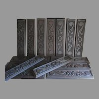 Antique Arts & Crafts Architectural Plaques, Hand Carved, English