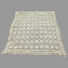 Fine Antique Hand Crocheted Lace Tablecloth, Victorian, Edwardian