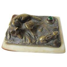 Antique Bronze Fox & Rabbit Call Bell, Servant Call