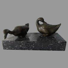 Vintage Bronze Sculpture of Ducks, Cabinet Bronze, Paperweight